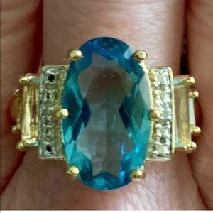 Ross Simons Vermeil Oval-cushion Blue Topaz Ring